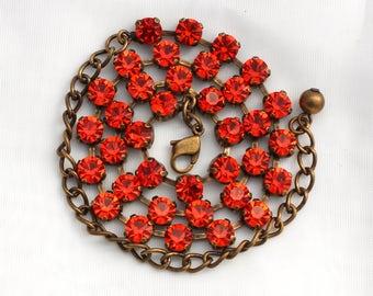 SALE -BRACELET ONLY - Hyacinth Orange 6mm Swarovski Crystal Jewelry - Available in Multiple Finishes