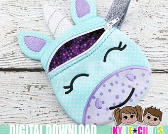 Unicorn Zippered Pouch ITH Embroidery Design