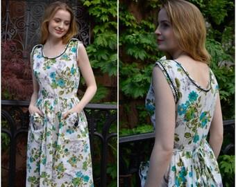 Spring Bloom dress   vintage 1950s dress   floral print cotton 50s dress