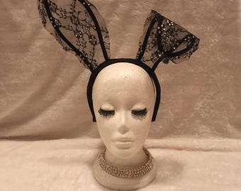 Black Lace Bunny Ears with Crystals. Burlesque Cabaret Vintage Costume Accessory