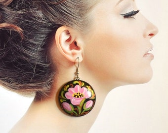 women birthday gift|for|sister nature Pink flowers jewelry black pink floral Painted earrings pink earrings handmade earrings Pink black Art