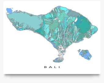 Bali Art, Bali Map Print, Southeast Asia, Indonesia, Travel Artwork