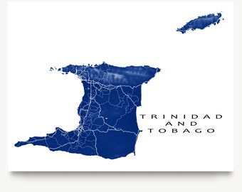 Trinidad Map Print, Tobago Map, Trinidad and Tobago Art Maps, Caribbean Islands