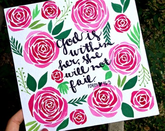 Psalm 46:5 Floral Watercolor