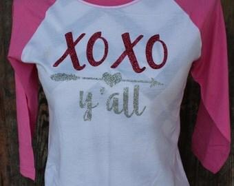 XOXO Y'all Raglan T-shirt/ Valentine's Day/ Hugs & Kisses