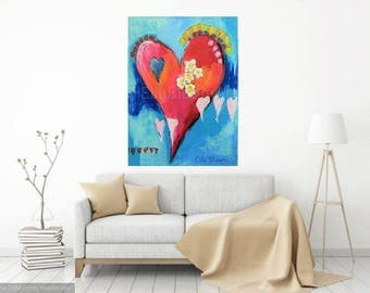 heart painting, large canvas heart painting, large canvas, large heart canvas art, heart canvas, 30 x 40 inch large canvas heart painting,