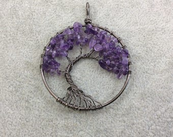 "2"" (50mm) Gunmetal Plated Copper Wire Wrapped Tree of Life Focal Pendant with Amethyst Chip Beads - Sold Individually/Random"