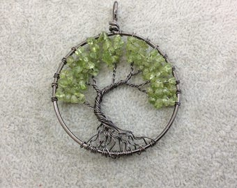 "2"" (50mm) Gunmetal Plated Copper Wire Wrapped Tree of Life Focal Pendant with Bright Green Peridot Chip Beads - Sold Individually/Random"
