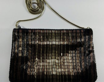 La Regale Vintage Beaded Shoulder Bag, Brown, Gold, Bronze, Vintage 1980s