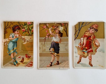 Victorian Trade Card,  Antique Girl Original Ephemera Advertising, Golden Seasonal Children Collectable Destash Card Making Art Scrapbook