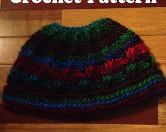 Crochet Messy Bun Hat Pattern, Swirly Striped Crochet Pattern, Messy Bun Hat, Striped Crochet Pattern, Crochet Hat, Fall Hat, Trendy Hat PDF