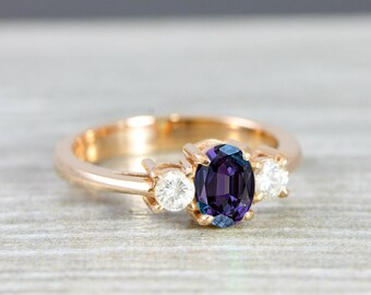 Alexandrite and Diamond oval engagement ring in gold for her handmade ring UK
