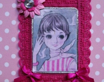 Applique.For her.For girl.Anime.Lolita.Japanese.Pink.Grey.Fushia.Fabric applique.Accesory.Fabric applique.Felt brooch.Big eyes.Embellishment