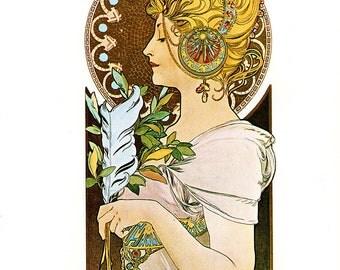 """Alphonse MUCHA 1976 Authentic Vintage Art Nouveau PRINT """"La Plume"""""""