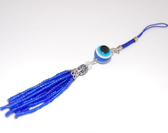 Rearview Mirror Blue Evil Eye Charm Nazar Mati Protection,Beaded Tassel,Cell phone charm,Wall Hanging, Lucky, Pray, Protection, Meditation
