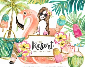 Resort Clip Art | Fashion Illustration Glam Girl Flamingo Floater Coconut Tree Summer Graphics | Planner Stickers Digital Resources Cliparts