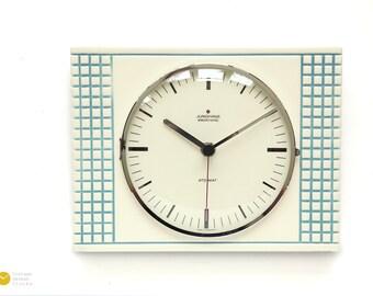 Mid century Modern JUNGHANS Ceramic Wall CLOCK - Panton Kitchen Op Art Atomic Space Age 70s mcm blue