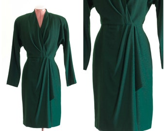 Forest green long sleeve crepe wool wrap dress with shoulder pads