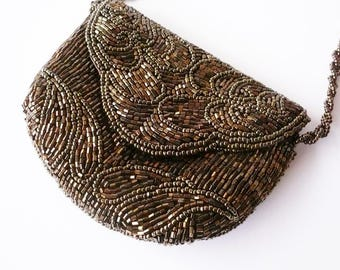 Scallop Detailed Brown Beaded Clutch Purse with Silk Lining and Long Shoulder Strap