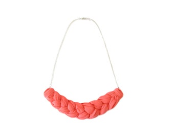 Pink Braided Necklace, Fabric Bib Necklace, Simple Fabric Jewelry, Chain Necklace, Statement Necklace, Birthday Gift For Women