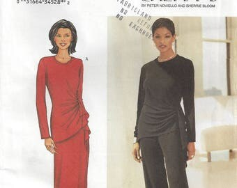 Plus Size Evening Wear for Knits Top with Asymmetrical Side Gathering or Drape Elastic Waist Pants Maxi Skirt Butterick 3371 Size 20-22-24