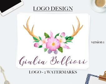 Antler logo, rustic logo, photography logos and watermarks, watercolor logo, boho logo, business logo design, feminine logo, branding kit