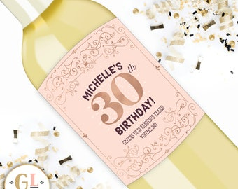 HAPPY BIRTHDAY Wine Label, Personalized 30th Birthday Gift, 21st 30th 40th or 50th Milestone Birthday, Custom Wine Label, Alt Birthday Gift