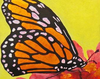 """Original Art, Midsummer, Monarch Butterfly Oil Painting, 5"""" x 6 1/2"""""""