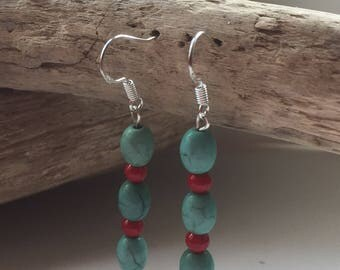 Handmade Sterling Silver, Turquoise and Dyed Coral Drop Earrings
