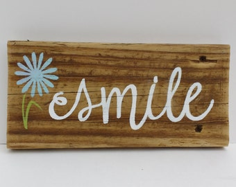 """SMILE Sign - Reclaimed Wood Sign, Hand-Painted Wood Sign, Rustic Wall Art, """"smile"""", Flower, Handmade, gift, hostess gift, birthday gift"""