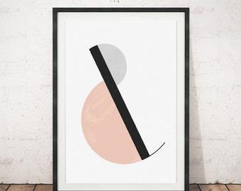 Ampersand poster, Ampersand art print, Geometric print, Mid century modern, A3, Wall print, Scandinavian art, Abstract poster, Wall art, Art