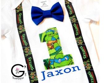 Ninja Turtle TMNJ Cake Smash Birthday Outfit baby boys Toddler Photo Prop Bow Tie Shirt Onesie ONLY