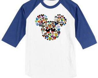 CHARACTER COLLAGE Mouse Head Disney Vacation Group Shirts BEST on white shirt or Raglan style shirt
