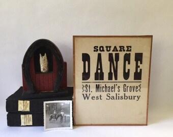 1933 square dance poster framed in copper, nostalgic Americana vintage memorabilia, Pennsylvania church dance advertising sign