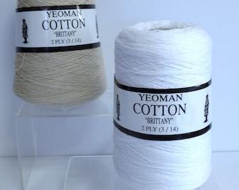 Yeoman Cotton Yarn Thread Cones, Yeoman Pure Cotton Brittany Knitting Machine Yarn Cones Thread Cones 2 Ply Tan & White Cotton Made in U.K.