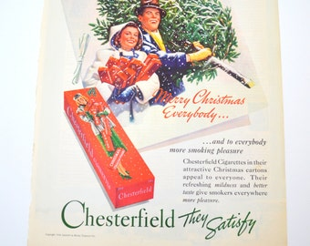 Vintage Chesterfield Cigarettes Ad, Merry Christmas Everybody, Original Advertising, Ladies Home Journal, 1938