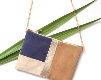 Leather pouch bag gold navy blue brown and beige with gold chain - leather nubuck clutch bag