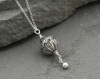 Long Sterling Silver Necklace, Turkish Silver Filigree Necklace, Long Silver Pendant Necklace, Oxidized Silver Pendant, Silver Ball Necklace