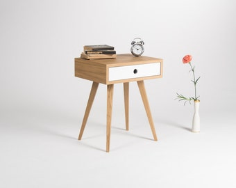 Nightstand, night stand, bedside table, bed side table, end table, side table with one white drawer, scandinavian design, mid century modern