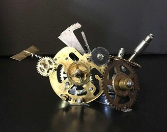 Ready to ship, industrial Steampunk business card holder! Industrial steampunk sculpture card display office decor.