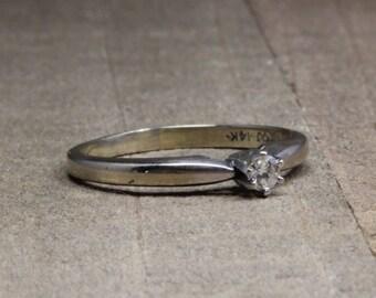 Estate, 14K White Gold Solitaire Diamond Engagement Ring