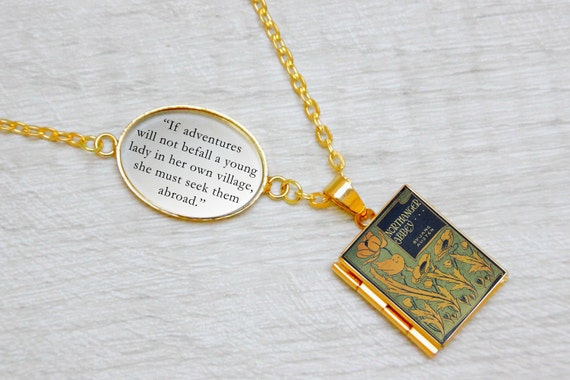 "Northanger Abbey by Jane Austen ""If adventures will not befall a young lady"" Vintage Book Gift Quote Locket Necklace Library"