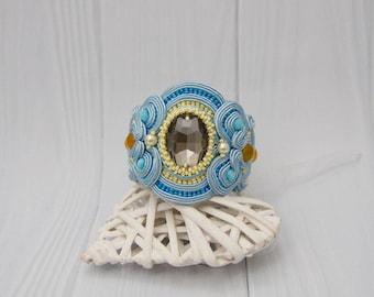 Wide Cuff Bracelet Light Blue Bracelet Beaded Boho Chic Bracelet Large Soutache Jewelry Statement Bracelet