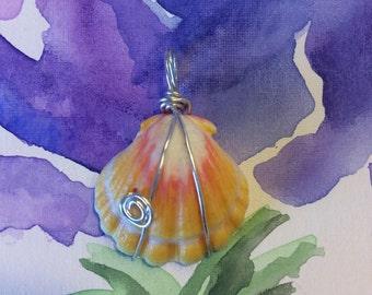 Sterling Silver Swirl Sunrise Shell Pendant <3