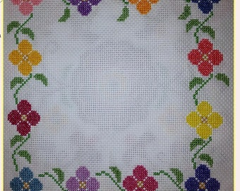 Hand-sewn Cross Stitch Art: Floral Bloom Border