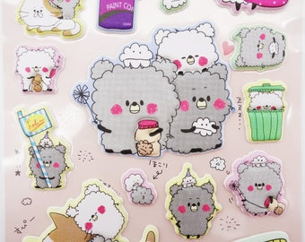 SUPER PUFFY Japanese dust ball animal stickers! kawaii dust bunnies, hokori, teddy bear stickers, cleaning stickers, cute puffy stickers