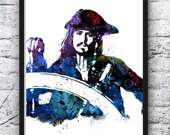 Captain Jack Sparrow Watercolor, Pirates of the Caribbean Poster, Johnny Depp, Movie Poster, Fan Art, Wall Art, Home Decor, Kids Art - 146
