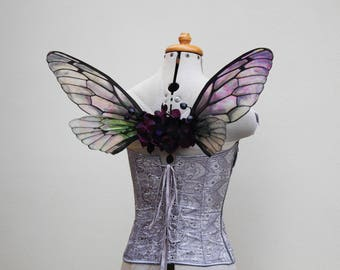 Gothic Purple and Black Dark Fairy Natural Transparent Cicada Fairy Wings - Costume/Fairy - Faerie Cosplay/Wearable Wings/Cellophane Wings