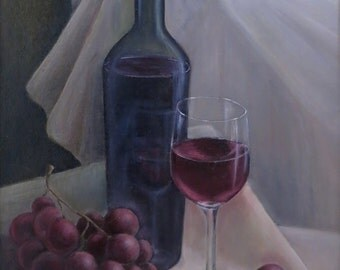 Original Flemish-style multi-layer oil painting on canvas from nature, still life with a wine bottle, wine glass and grapes, FREE SHIPPING