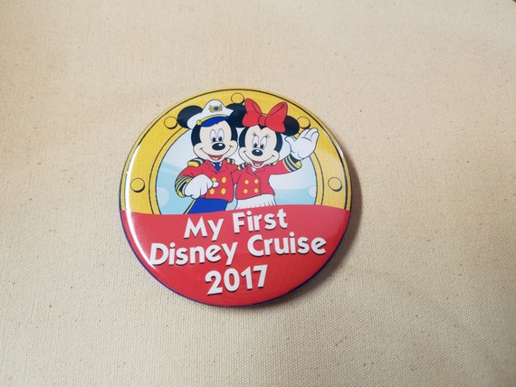 "Disney Cruise Line Inspired 3"" Buttons My First Disney Cruise 2017 Fish Extender Gift FE Pin Back Buttons FE"